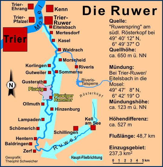 Karte Ruwer und Riveris