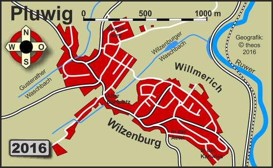 Geografik: (c) Theophil Schweicher 2013; Kartengrundlage: Topographische Karte 1:25.000 (TK25), Blatt 6306; ca. 2005, sowie Google Earth-Auswertung 2016
