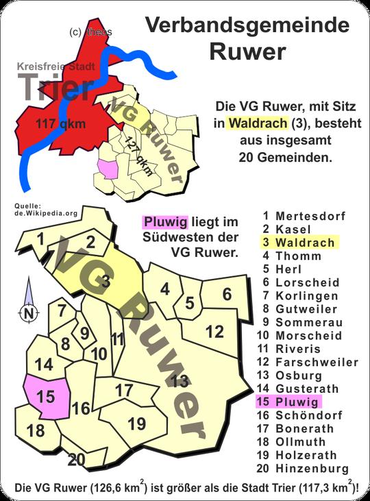 Die Gemeinden der Verbandsgemeinde Ruwer. Grafik: Theophil Schweicher
