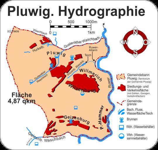 Übersichtskarte der Hydrographie von Pluwig: (c) theos 2013-2015