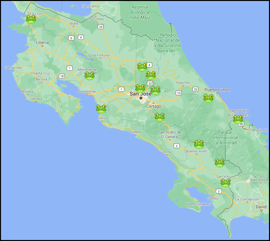 Notable locations during our trip to Costa Rica.