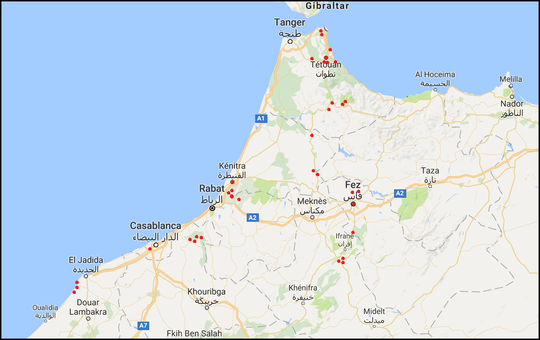 Overview of prospected sites during our trip in Morocco.