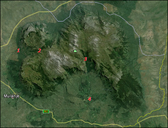 Overview of the Mulanje Massif. 1=Likhubula Forest Lodge, 2=Chembe Bassin, 3=Ruo Gorge, 4=Lujeri Tea Estates.
