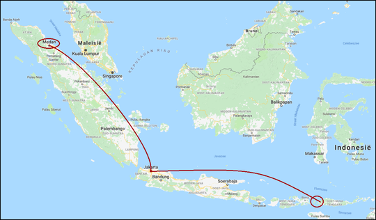 From Jakarta we first flew north to Sumatra and afterwards south towards the Lesser Sunda Islands and to Komodo.