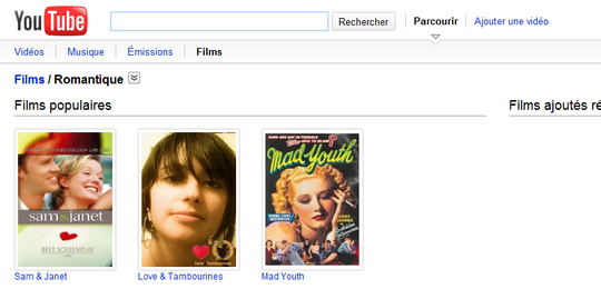 Youtube Movies, section films romantiques...