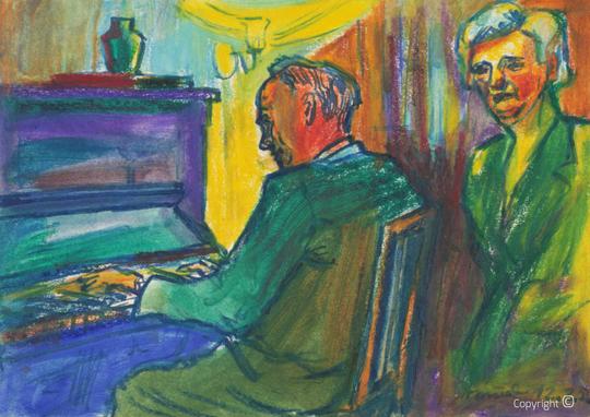 Amud Uwe Millies (1932-2008): Hanns Heinen spielt Klavier im Salon des Schwarzen Hauses, 1956
