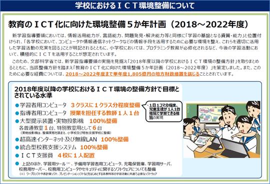 文部科学省 学校におけるICT環境の整備について(教育のICT化に向けた環境整備5か年計画(2018(平成30)~2022年度))