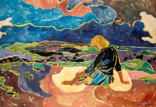 Bettina Heinen-Ayech (1937-2020): Mädchen am Strand von Sylt, 1955