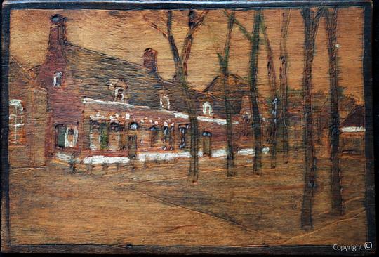 Das Haus von Erwin Bowiens am Slootweg 44 in Egmond a.d.Hoef, Holzgravur