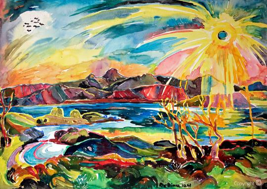 Bettina Heinen-Ayech (1937-2020): Bergmassiv der Sieben Schwestern auf der Insel Alsten von der Hütte Bettina-Bo aus gemalt, Kohlearbeit auf Papier 1962
