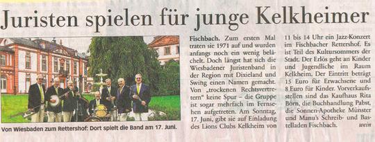 Jazzkonzert auf dem Reiterhof in der Presse