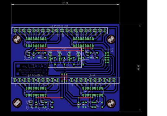 Panel de presentacion con barra de LEDs Rev00 de potencia de salida, potencia de entrada y SWR