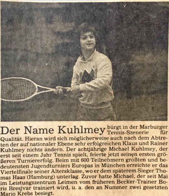 OberhessischePresse, Tennis, Jugendturnier München, 1986, Michael Kuhlmey unterliegt nur knapp Thomas Haas