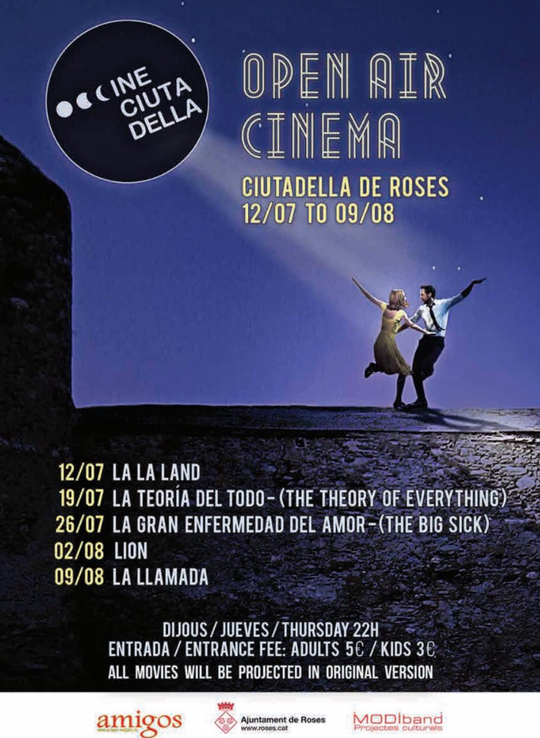 Open Air Kino in Roses vom 12.7. bis 9.8.2018