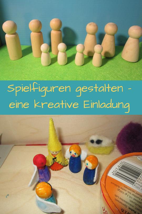 Wir gestalten Spielfiguren für kreatives, freies Spielen aus hölzernen PegDolls. Super einfach und herrlich inspirierende Bastelidee für Kinder.