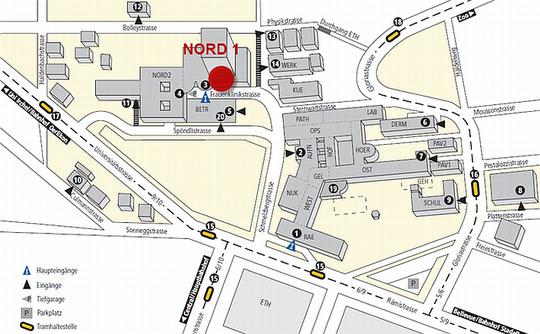 Universitätsspital Zürich, Lageplan