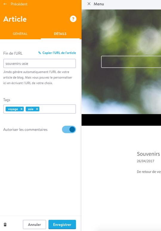 L'URL personnalisée favorise le référencement de votre article et est plus facile à lire pour vos visiteurs.