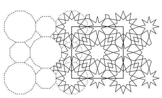 figuur 8 Een basispatroon met regelmatige 8- en 12-hoeken waarin sterren zijn geplaatst
