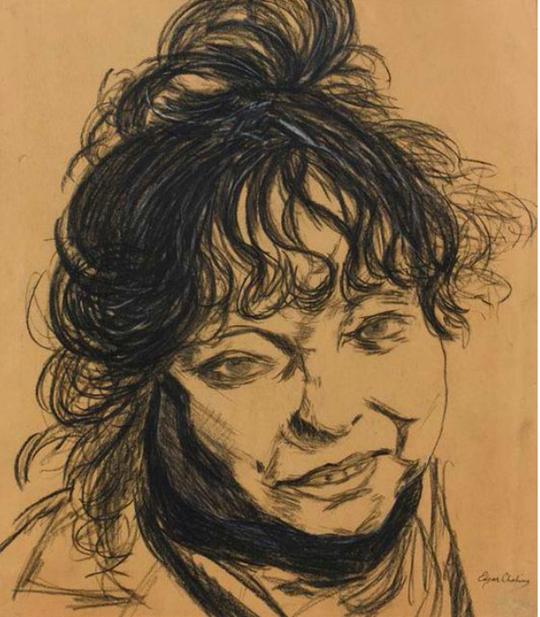Edgar CHAHINE (1874-1947) Visage de femme Fusain sur papier, signé en bas à droite 49,4 x 44 cm (à vue) à la galerie Agnes thiebault paris