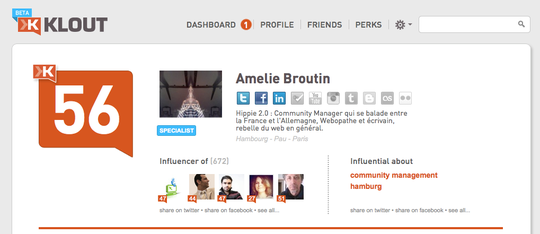 Klout Amelie Broutin 30.08.11