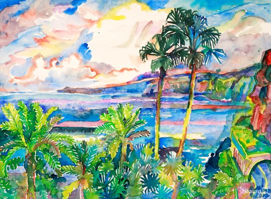 Bettina Heinen-Ayech (1937-2020): Palmen vor der Steilküste von Puerto de la Cruz in Teneriffa, 2019