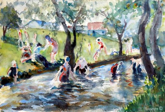 Erwin Bowien (1899-1972): Der Eisbach im Englischen Garten zu München, 1923