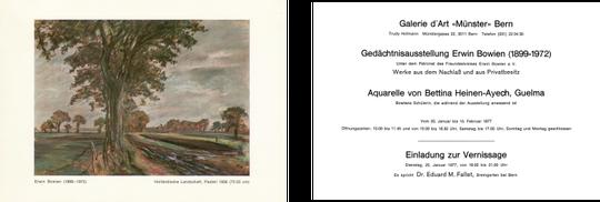 Einladungskarte 1977 zur Erwin Bowien Gedächtnisausstellung in Bern