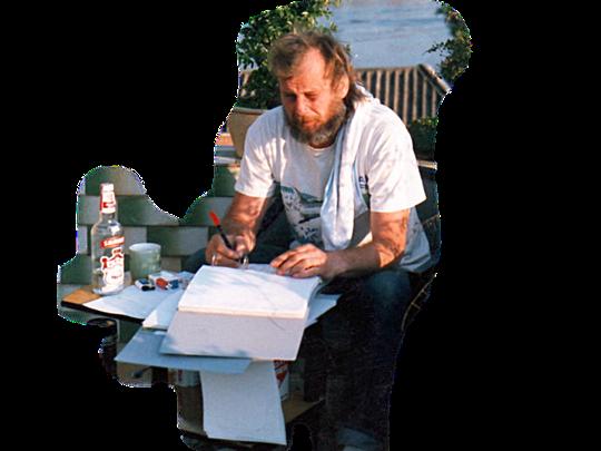 """Planungs-Arbeit auf der Terrasse 36°C                                                                                                      """"Abkühlung"""" mit Kaffee und Vodka"""