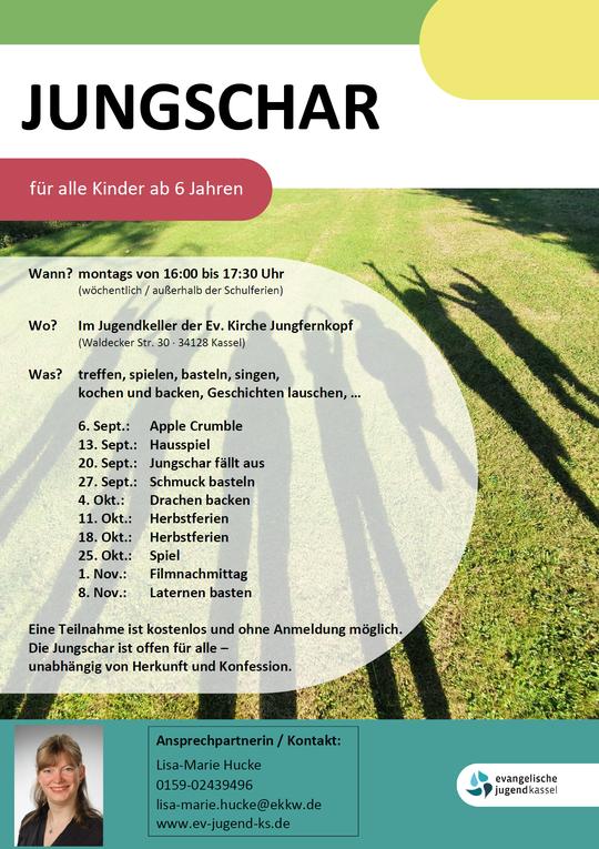 Plakat. Neue Jungschartermine, montags 16.00 bis 17.00 Uhr, Hintergrund Schattenfotografie in die Luft springender Kinder. Ansprechpartnerin: Lisa-Marie Hucke, E-Mail: lisa-marie.hucke@ekkw.de.