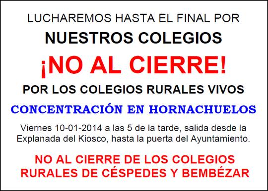 """CONCENTRACIÓN EN HORNACHUELOS ¡NO AL CIERRE DE LOS COLEGIOS! - Haz """"clic"""" en la imagen para ampliar."""