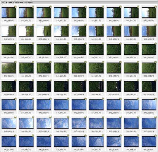 Die 72 Bilder einer Szenerie werden in einen Ordner sortiert.