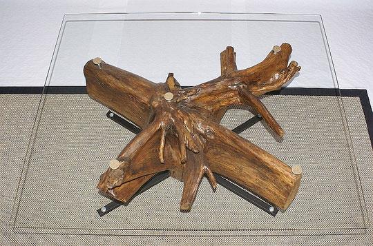 Wurzel Tisch mit Glasplatte