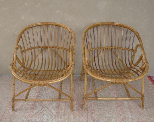 fauteuils coquille rotin JOLI