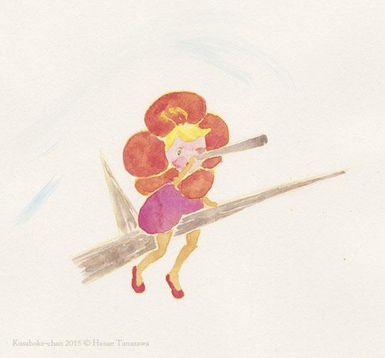 """今年はクサボケちゃんをたくさん描きたい。A sketch for """"Kusaboke-chan"""" 2015 ©︎ Hanae Tanazawa"""
