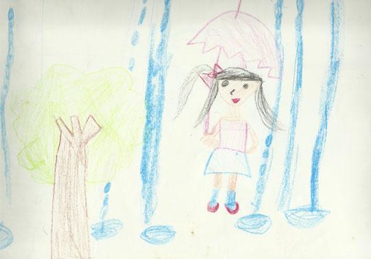 大雨・・・ (小2頃の絵)