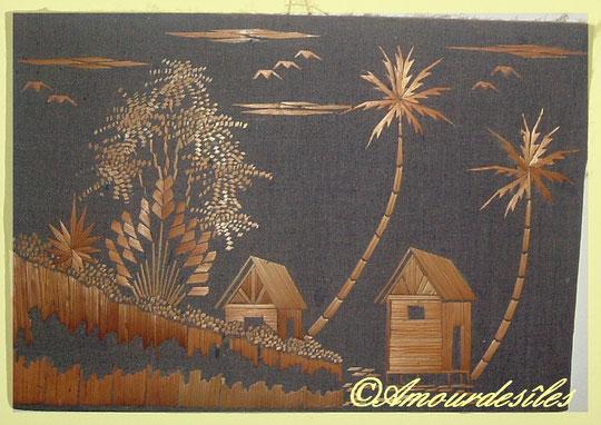 2ème petit tableau fait à la main avec de la paille de riz, collés sur du tissu noir, du coton!