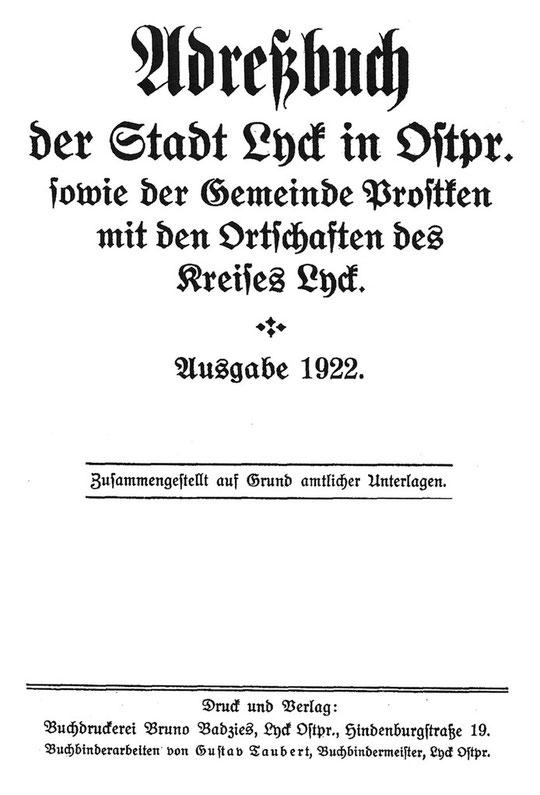 Adressbuch 1922
