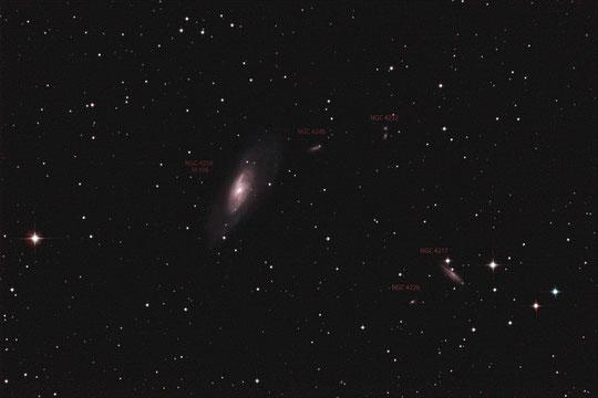 M106 mit Nachbargalaxien, Aufnahmebrennweite 750 mm