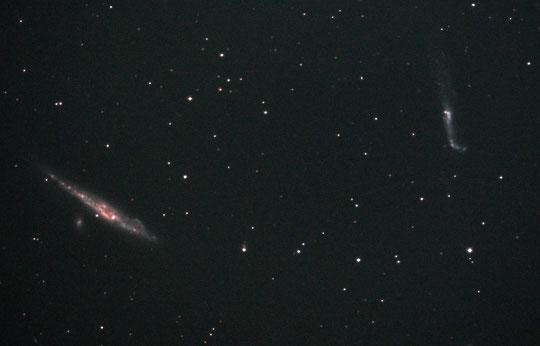 Die Galaxie NGC 4631 (links) und NGC 4656/57 (rechts)