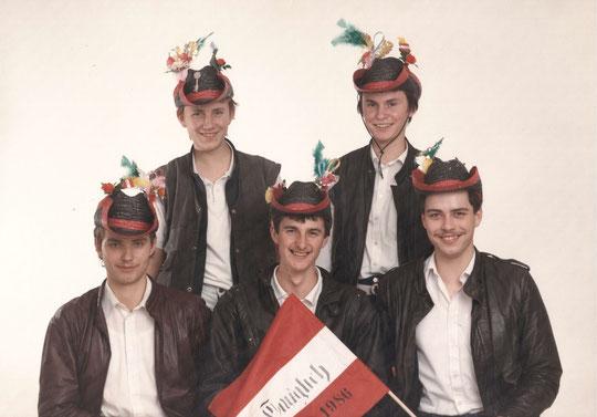 Jahrgang 1968: Konrad Hauser, Gottfried Wagner, Erich Steingassner, Ernst Bogner u. Johann Rossak; (NIcht am Bild: Walter Koppensteiner u. Christian Böhm - eigener Musterungstermin)