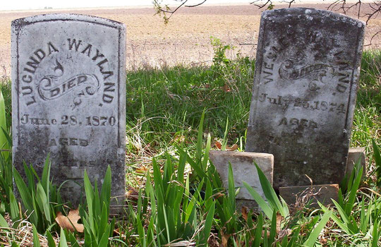 Headstones for Lucinda and Wesley Wayland in the Bowlin-Wayland Cemetery.