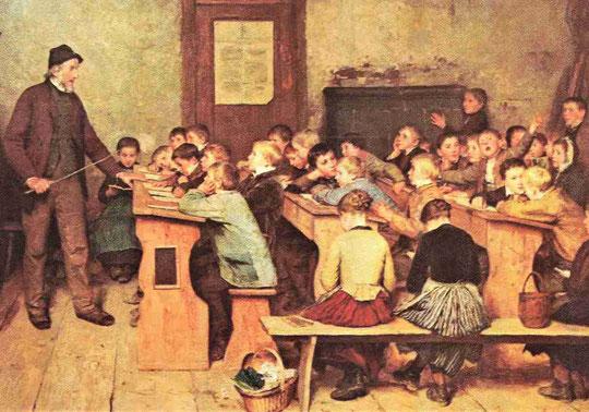 Schulklasse um 1850. Repro: Ausschnitt Dorfschule 1848 von Albert Anker, Kunsthaus Zürich. Wikipedia, Aufruf 08.01.2021