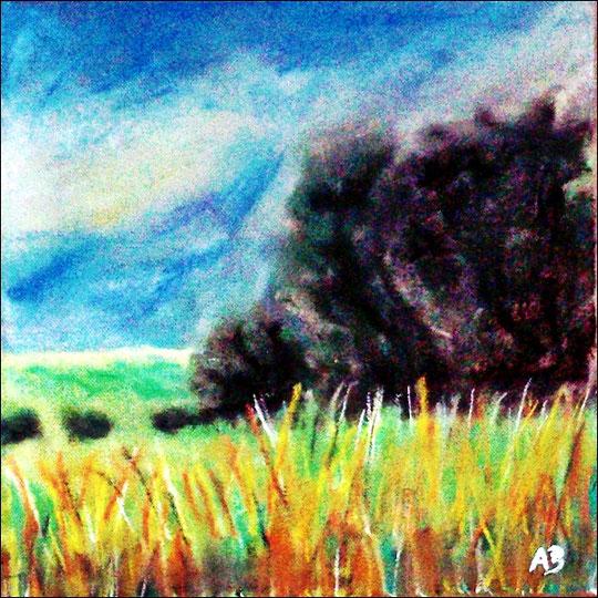 Feldlandschaft-Pastellgemälde-Feld-Wiese-Gras-Pflanzen-Bäume-Büsche-Sommer-Himmel-Wolken-Pastellmalerei-Landschaftsgemälde-Pastelllbild