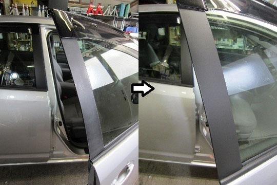 車プリウス窓枠ぶつけ傷のリペア・修理のビフォーアフターの写真