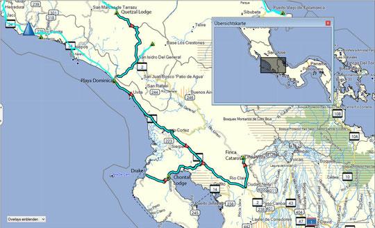 Die Fahrtroute von der Quetzal Lodge über Playa Dominical, Chontal Lodge, Drake zur Finca Catarosr
