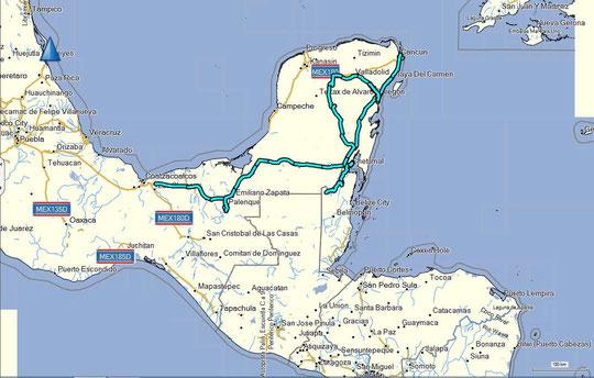 Fahrtroute Yukatan