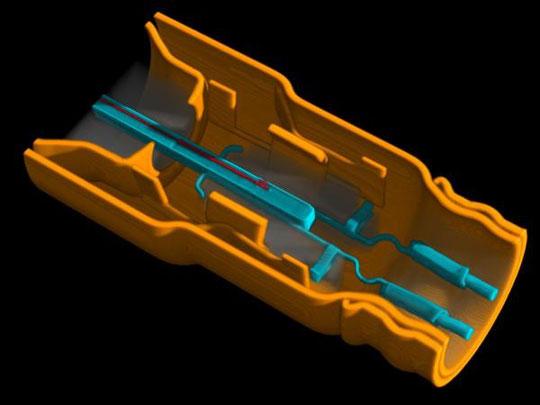 Mikrofocus- CT einer Lambda-Sonde (Anschlussseite).  Die Aufnahme ermöglicht die Untersuchung des Inconell-Schutzgehäuses (gelb) einschließlich der Laserschweißnähte, der Crimpverbind. (blau) sowie der Kontaktier. des keram. Sauerstoffsensors (blau-rot)