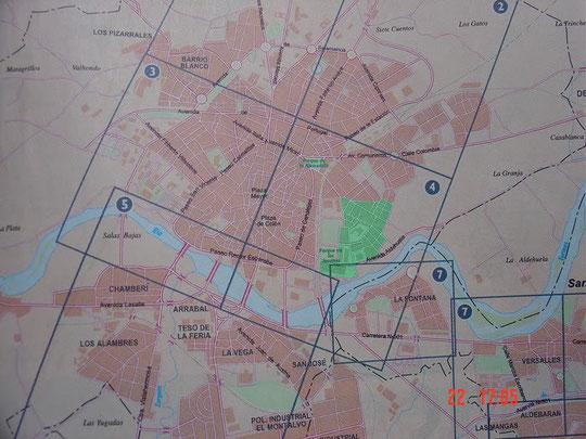 Plano de la Ciudad con el barrio destacado en verde (por gentileza de las Páginas Amarillas)