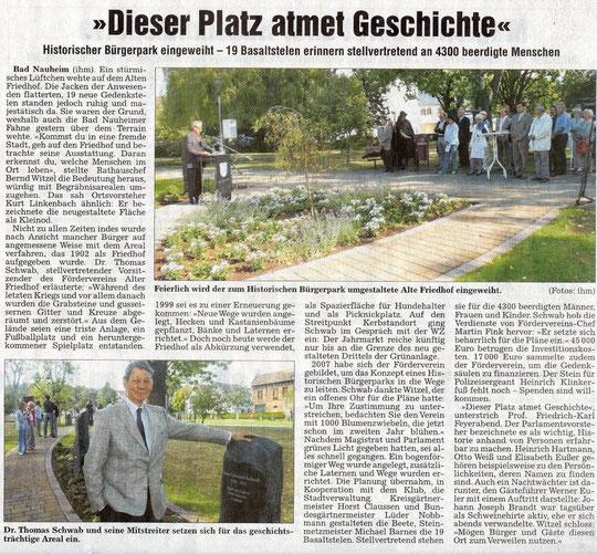 Wetterauer Zeitung vom 4. Sept. 2009