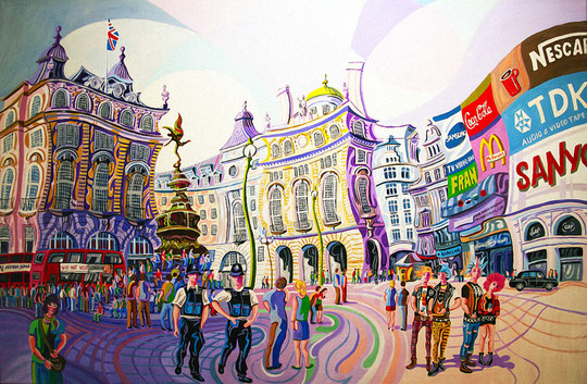 PICCADILLY CIRCUS (LONDRES). Huile sur toile. 97 x 146 x 3,5 cm.